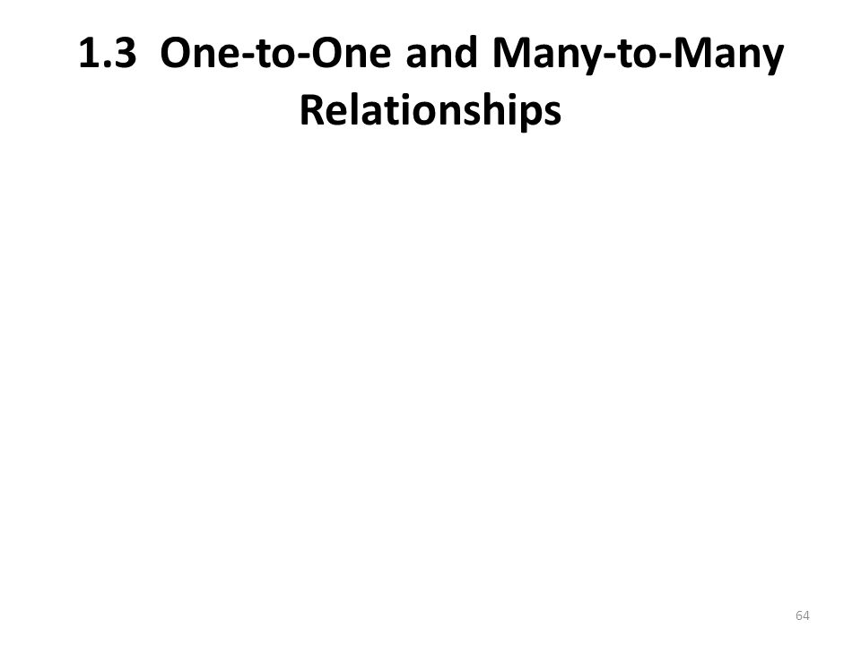 1.3 One-to-One and Many-to-Many Relationships 64