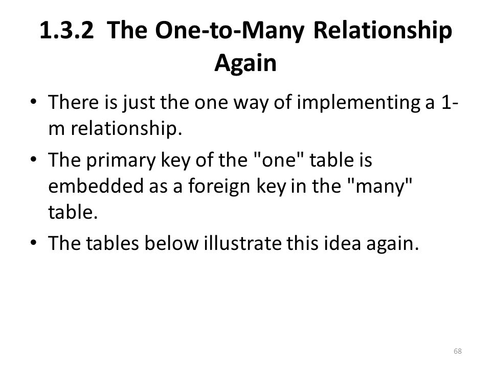 1.3.2 The One-to-Many Relationship Again There is just the one way of implementing a 1- m relationship.