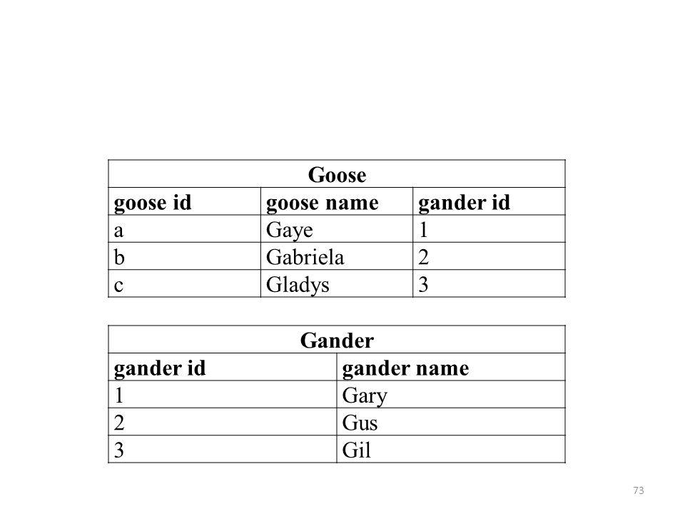 Goose goose idgoose namegander id aGaye1 bGabriela2 cGladys3 Gander gander idgander name 1Gary 2Gus 3Gil 73