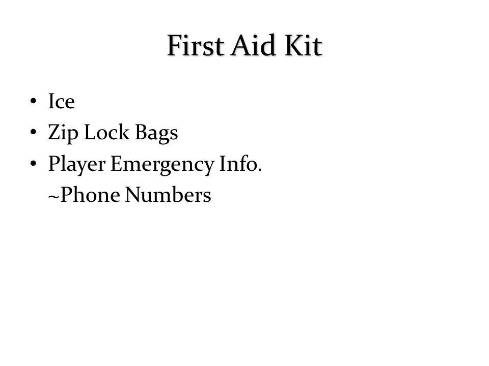 Ice Zip Lock Bags Player Emergency Info. ~Phone Numbers