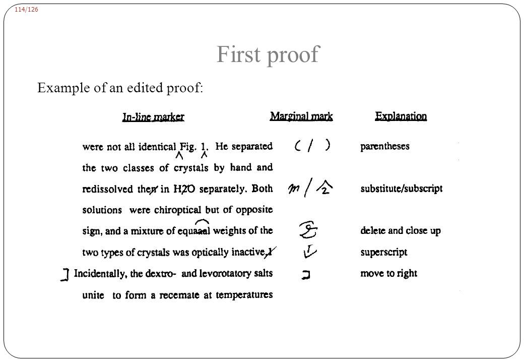 114/126 Example of an edited proof: First proof