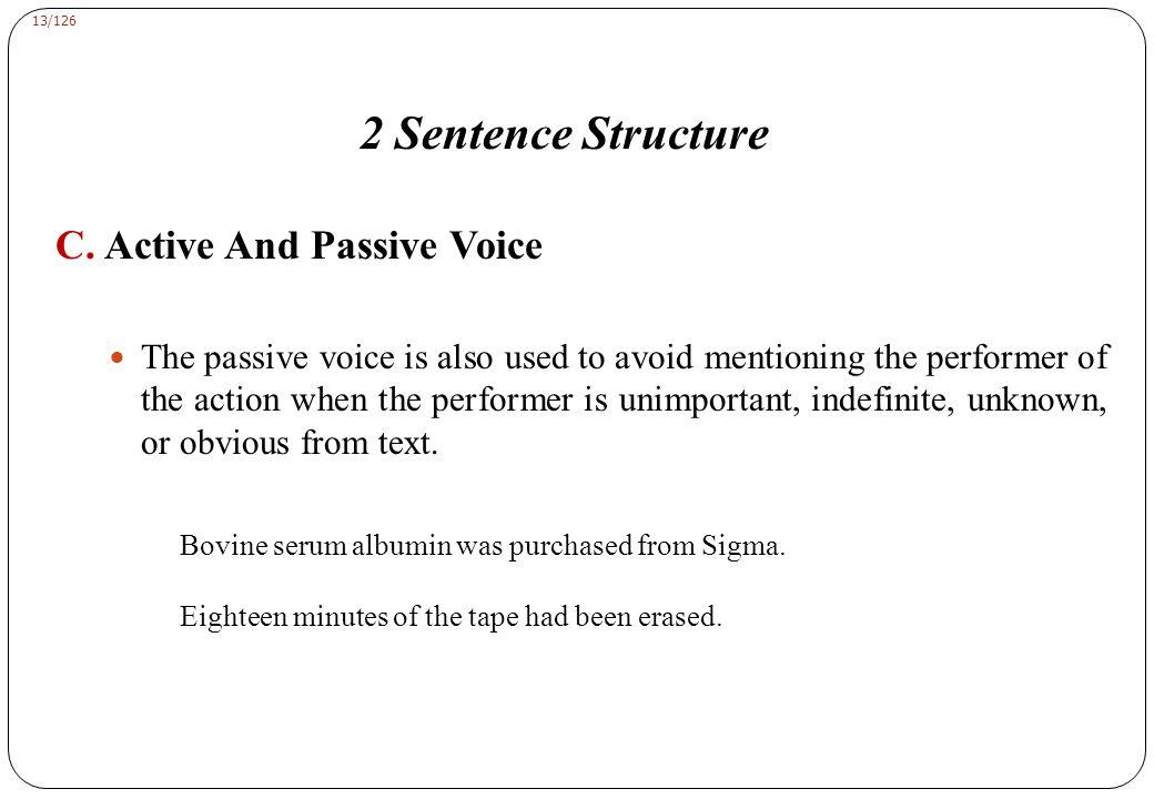 13/126 2 Sentence Structure C.
