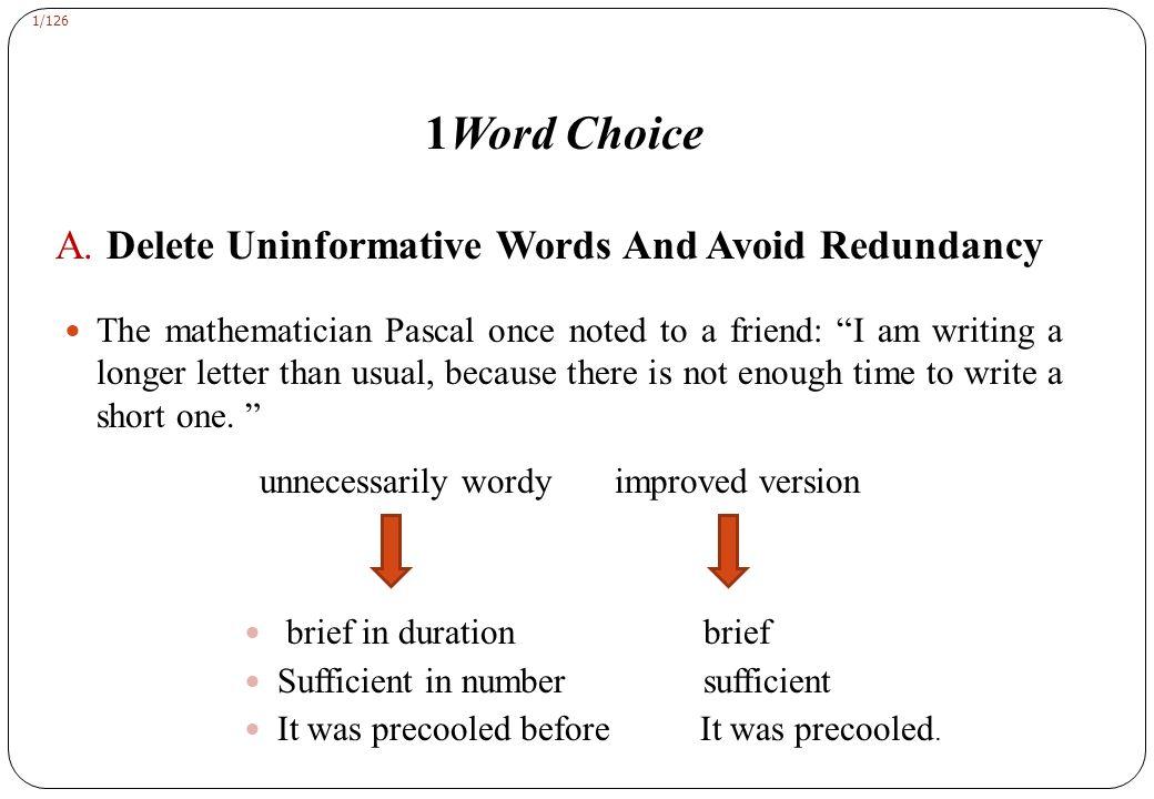 1/126 1Word Choice A.