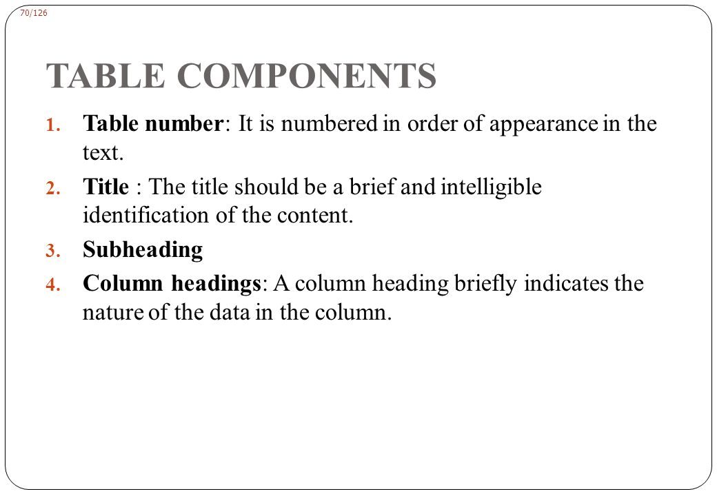 70/126 TABLE COMPONENTS 1.Table number: It is numbered in order of appearance in the text.