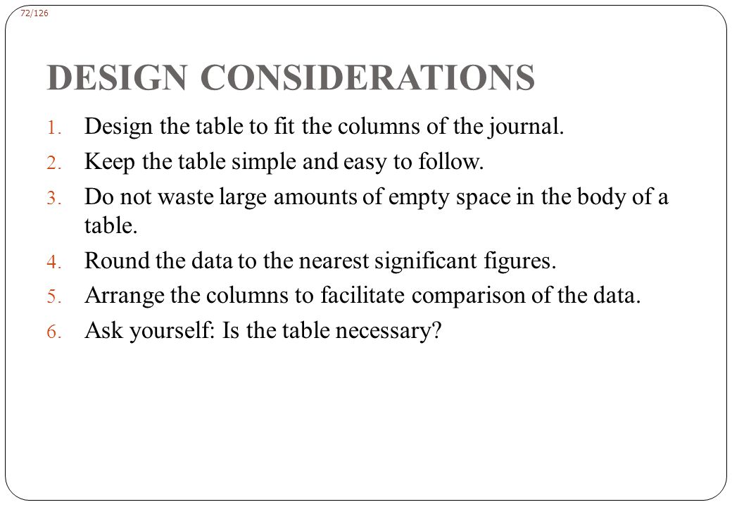 72/126 DESIGN CONSIDERATIONS 1.Design the table to fit the columns of the journal.