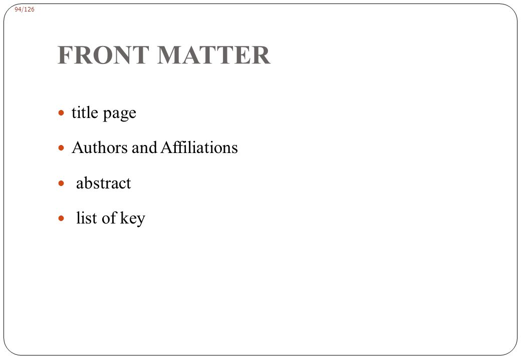 94/126 FRONT MATTER title page Authors and Affiliations abstract list of key