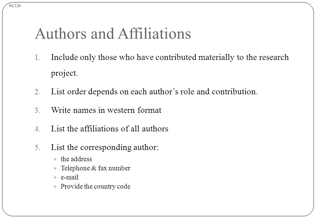 96/126 Authors and Affiliations 1.