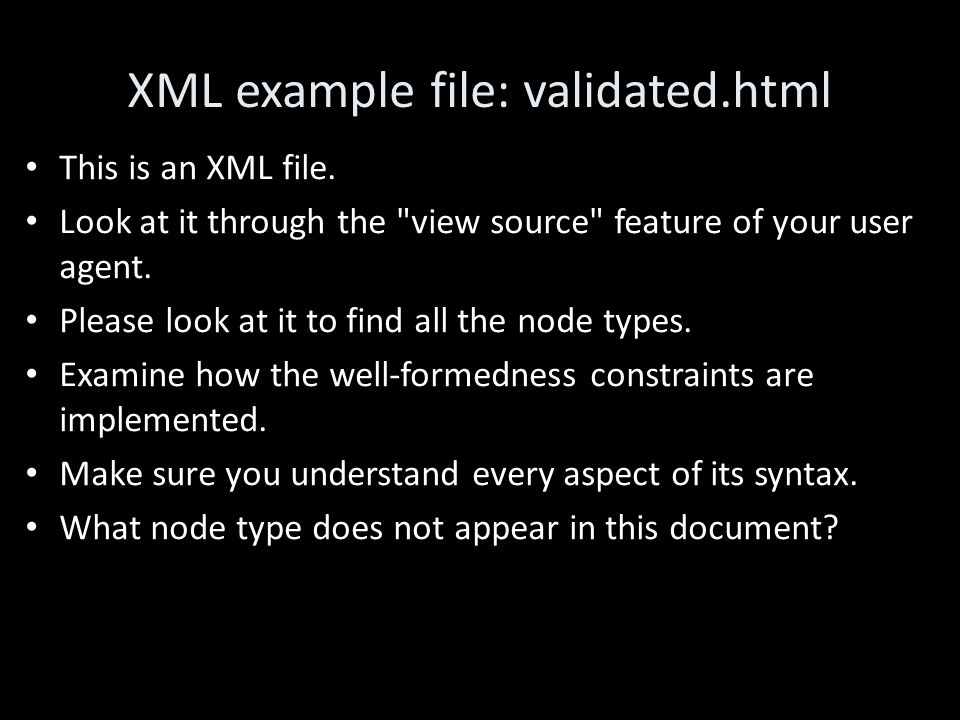 XML example file: validated.html This is an XML file.