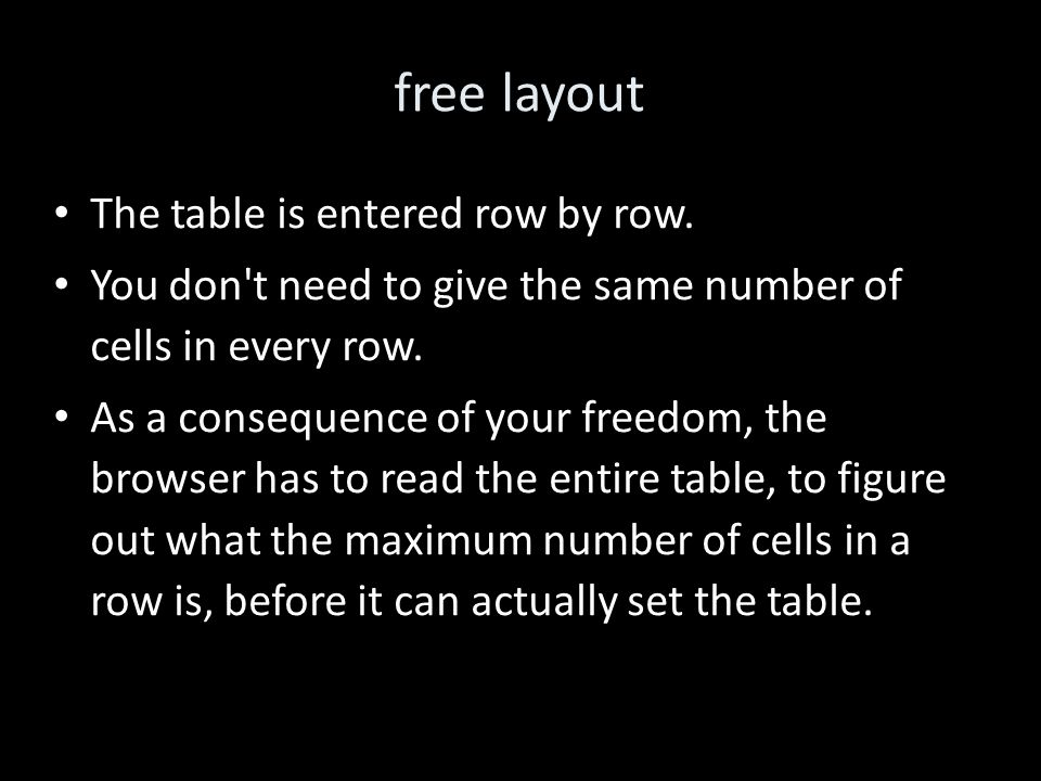 free layout The table is entered row by row.