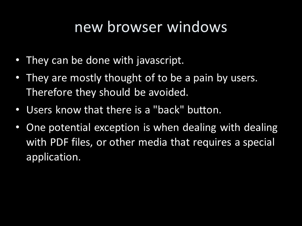 new browser windows They can be done with javascript.