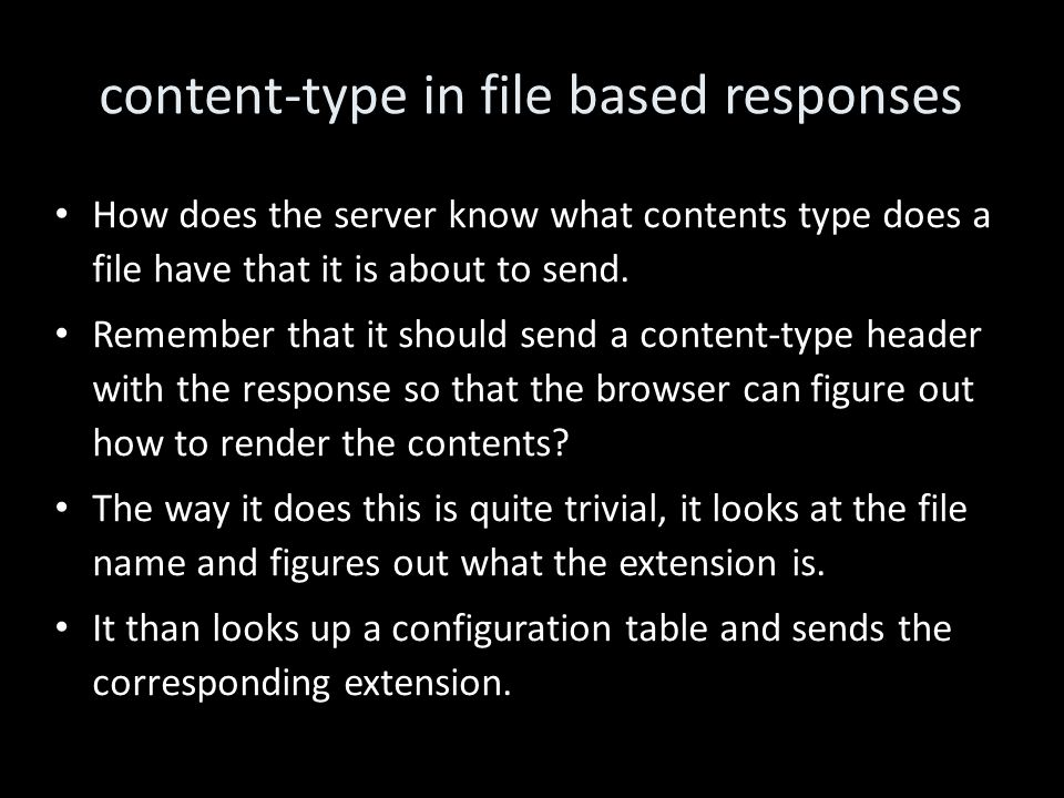 content-type in file based responses How does the server know what contents type does a file have that it is about to send.