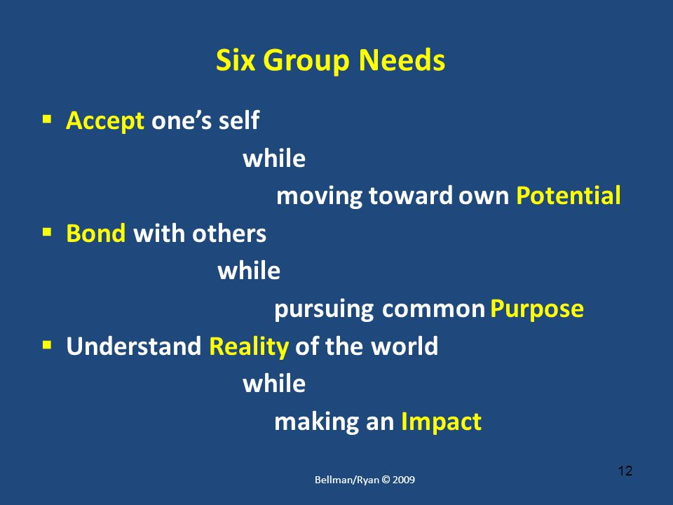 12 Six Group Needs  Accept one's self while moving toward own Potential  Bond with others while pursuing common Purpose  Understand Reality of the