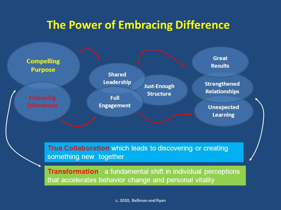 The Power of Embracing Difference c. 2010, Bellman and Ryan Just-Enough Structure Compelling Purpose Shared Leadership Embracing Differences Full Enga