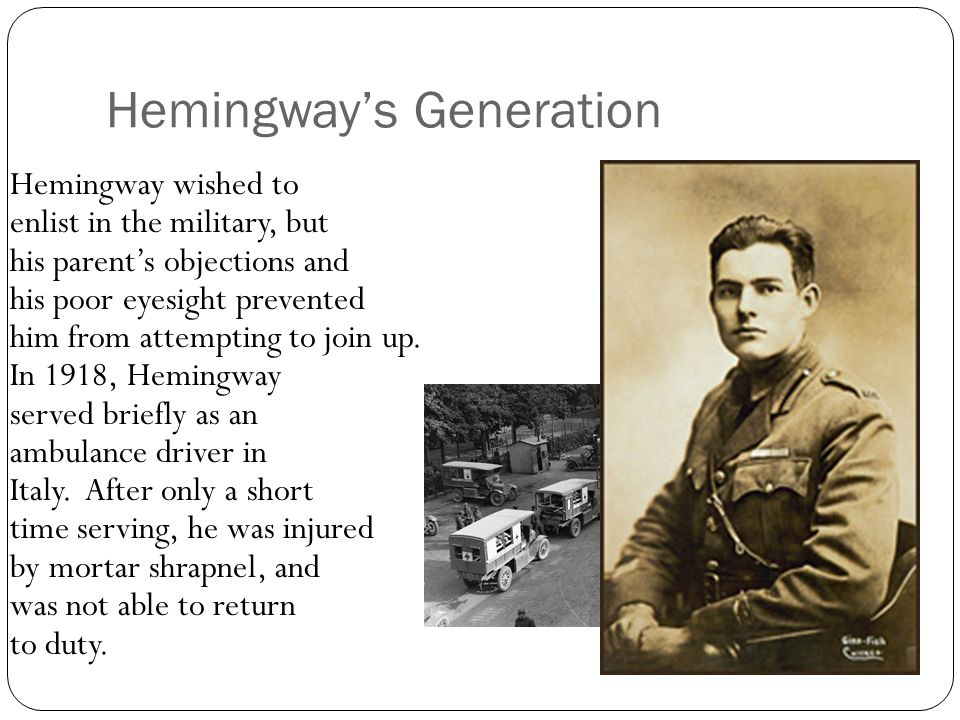 Hemingway moved to Paris in 1921 with his wife Hadley.