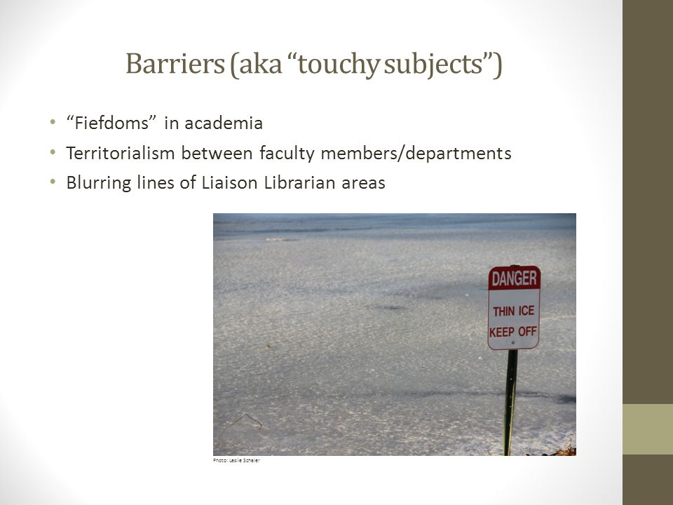 Barriers (aka touchy subjects ) Fiefdoms in academia Territorialism between faculty members/departments Blurring lines of Liaison Librarian areas Photo: Leslie Schaler