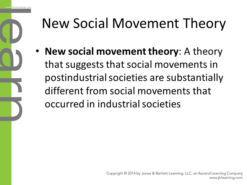 New Social Movement Theory New social movement theory: A theory that suggests that social movements in postindustrial societies are substantially diff