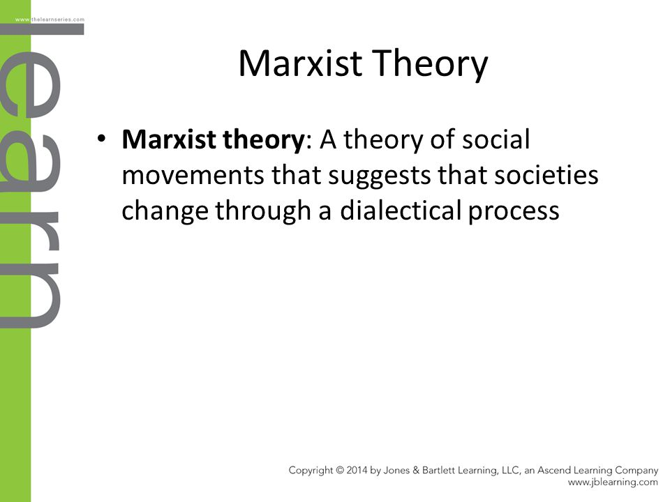 Marxist Theory Marxist theory: A theory of social movements that suggests that societies change through a dialectical process