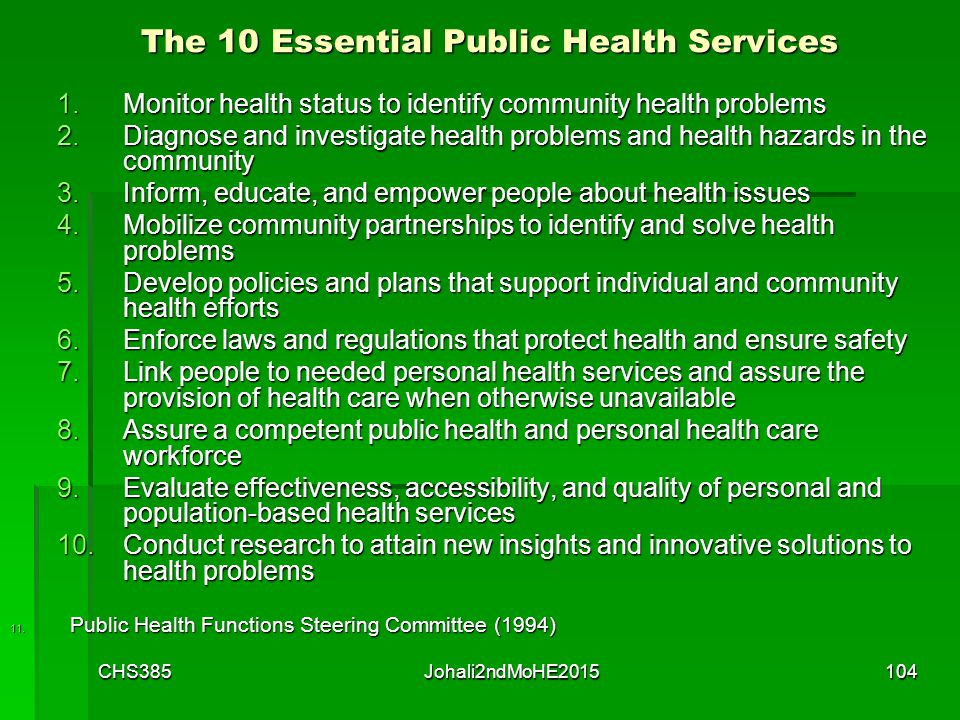 The Public Health System Assuring the Conditions for Population Health Employers and Business Academia Governmental Public Health Infrastructure The M