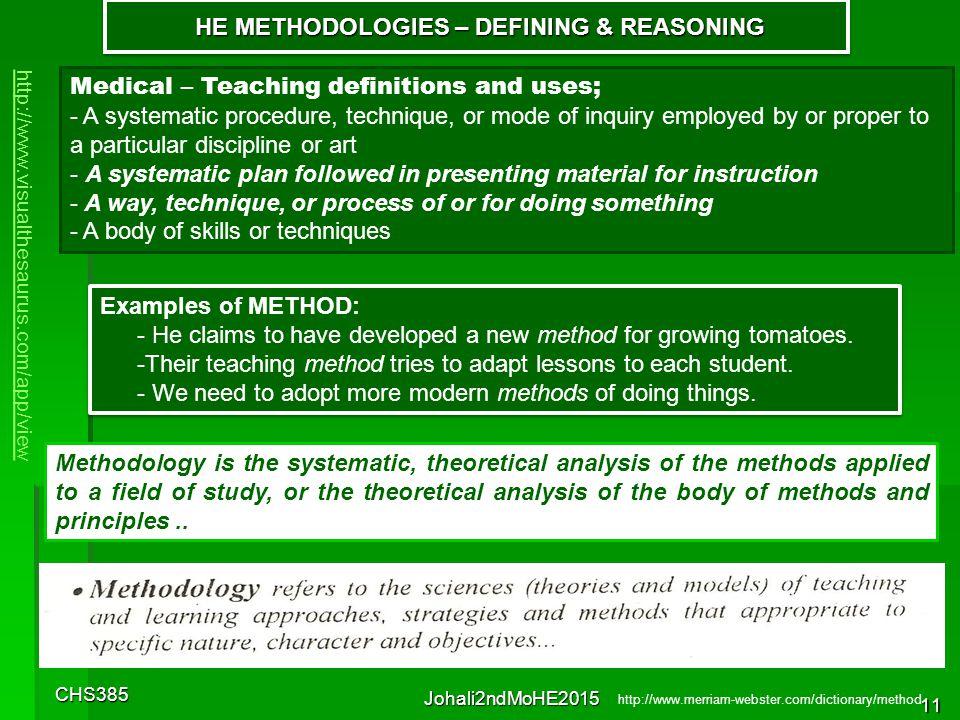 CHS385 Johali2ndMoHE2015 10 HE METHODOLOGIES – DEFINING & REASONING HE METHODOLOGIES – DEFINING & REASONING http://www.visualthesaurus.com/app/view Sy