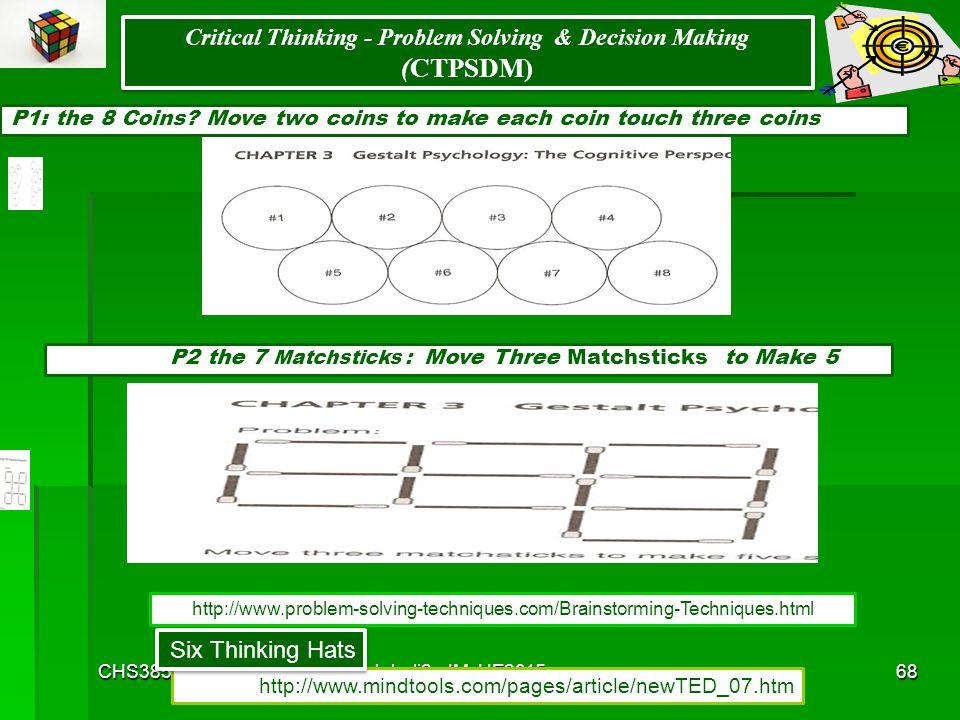 CHS385Johali2ndMoHE201567 Brain Storming Critical Thinking - Problem Based Learning & Problem Solving & Decision Making (CTPSDM) Brain Storming Critic