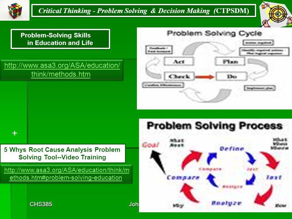 CHS385Johali2ndMoHE201569 Critical Thinking - Problem Solving & Decision Making (CTPSDM) http://www2.unescobkk.org/elib/publications/nonformal/M4.pdf