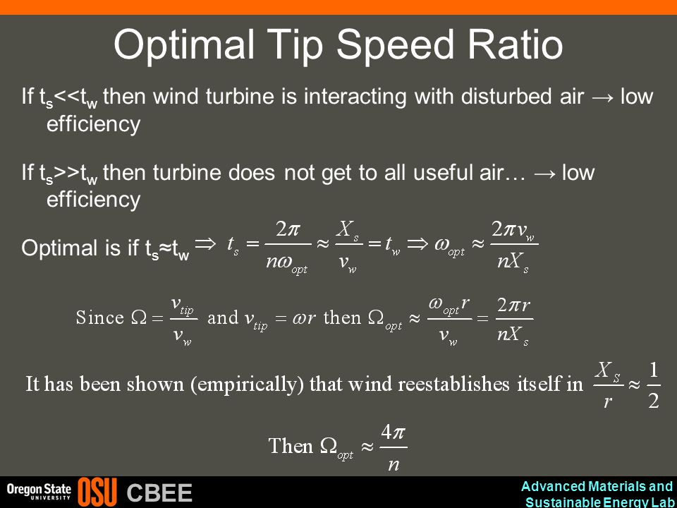 Advanced Materials and Sustainable Energy Lab CBEE Optimal Tip Speed Ratio If t s <<t w then wind turbine is interacting with disturbed air → low effi