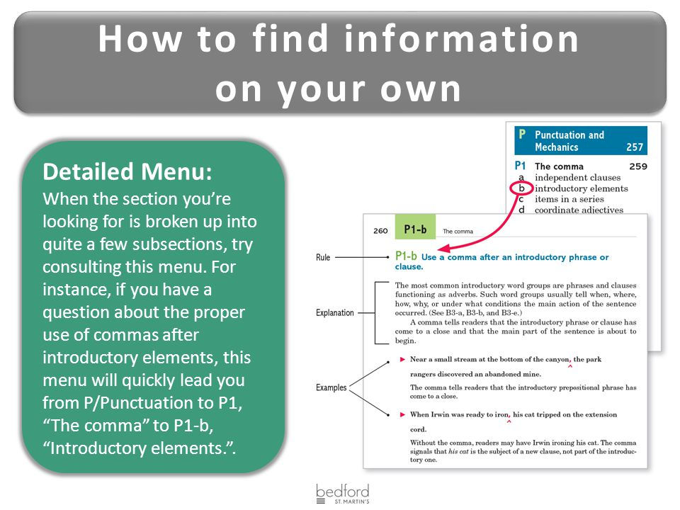 Detailed Menu: When the section you're looking for is broken up into quite a few subsections, try consulting this menu.
