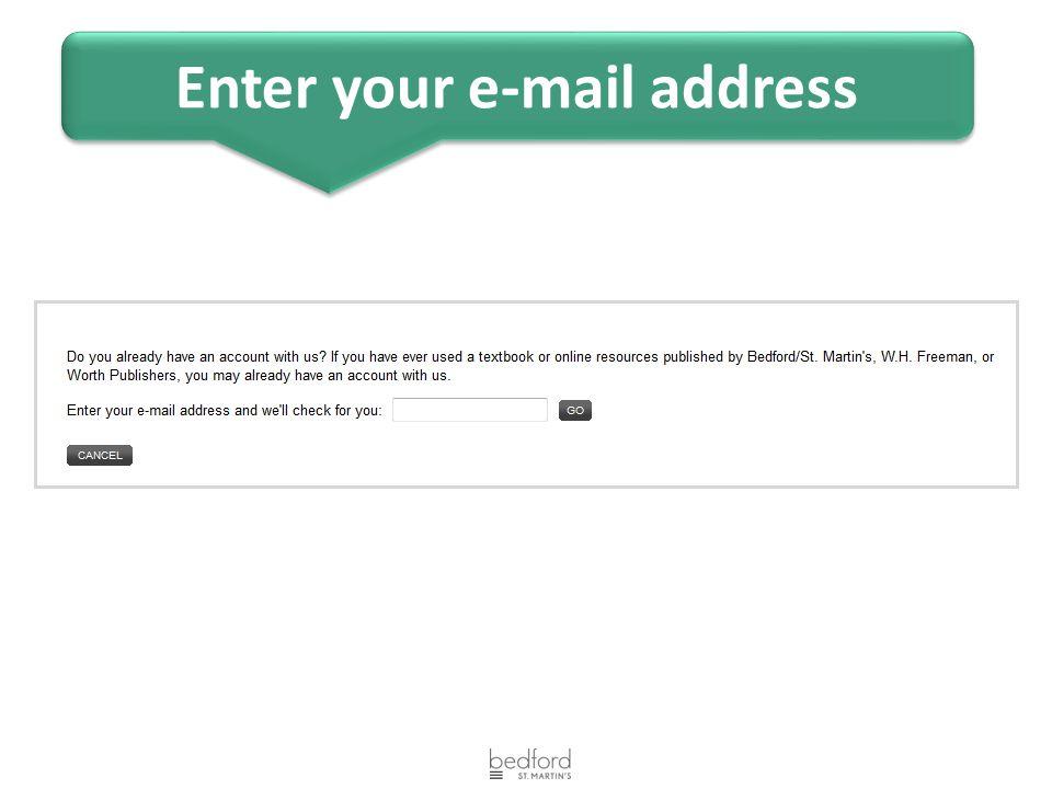 Enter your e-mail address