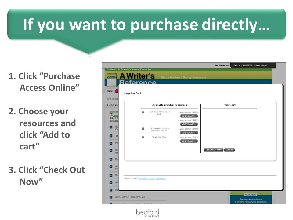 If you want to purchase directly… 1. Click Purchase Access Online 2.