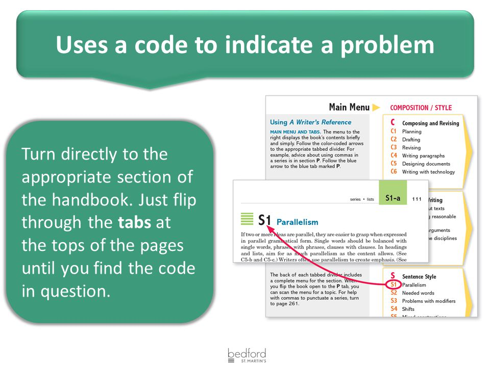 Turn directly to the appropriate section of the handbook. Just flip through the tabs at the tops of the pages until you find the code in question. Use