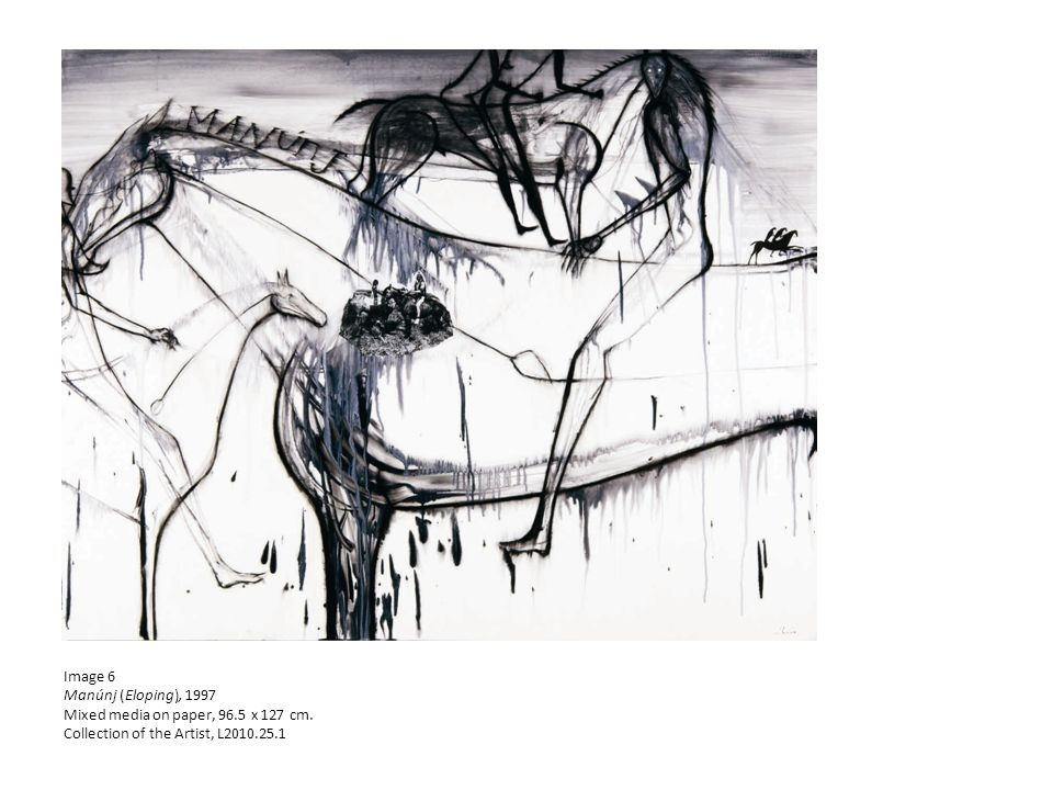 Image 6 Manúnj (Eloping), 1997 Mixed media on paper, 96.5 x 127 cm.