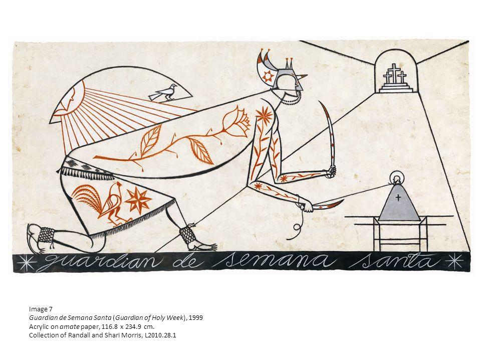 Image 7 Guardian de Semana Santa (Guardian of Holy Week), 1999 Acrylic on amate paper, 116.8 x 234.9 cm.