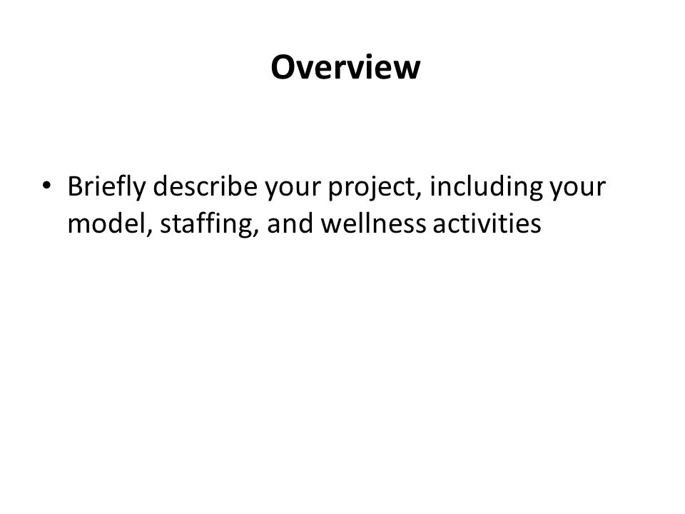 Overview Briefly describe your project, including your model, staffing, and wellness activities