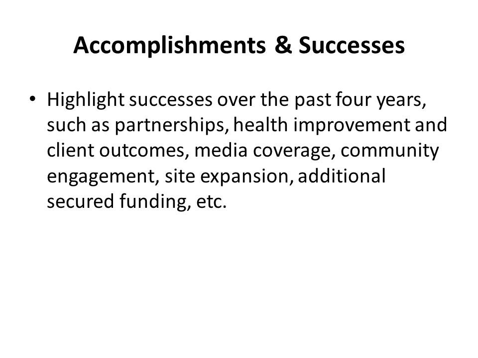 Accomplishments & Successes