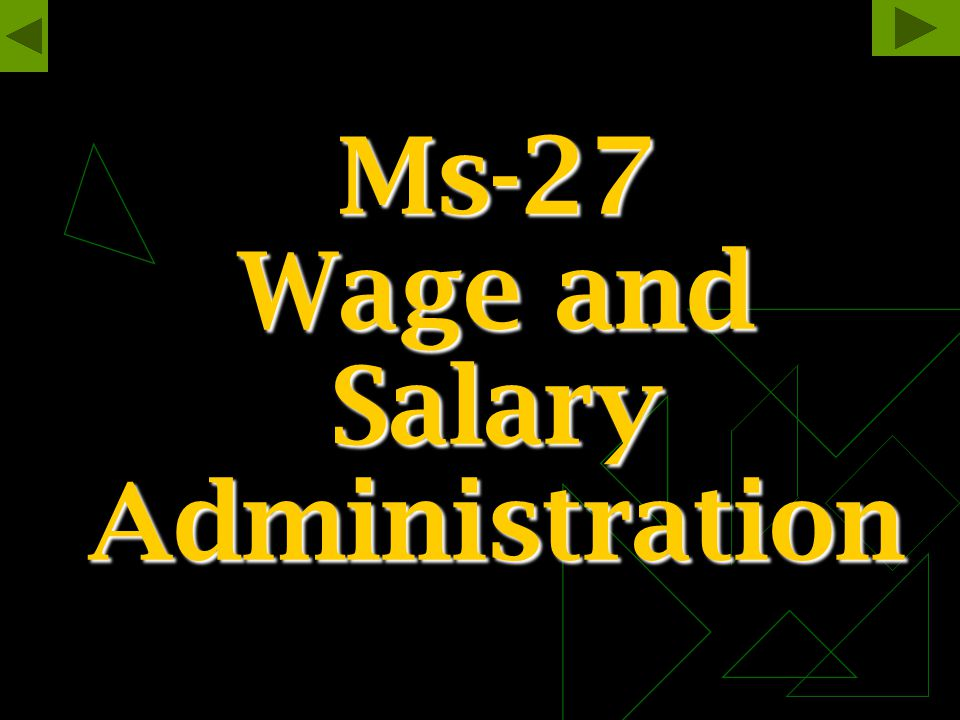 Ms-27 Wage and Salary Administration