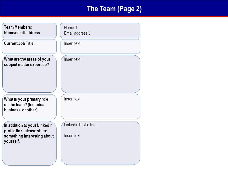 The Team (Page 2) Team Members: Name/email address What are the areas of your subject matter expertise? What is your primary role on the team? (techni