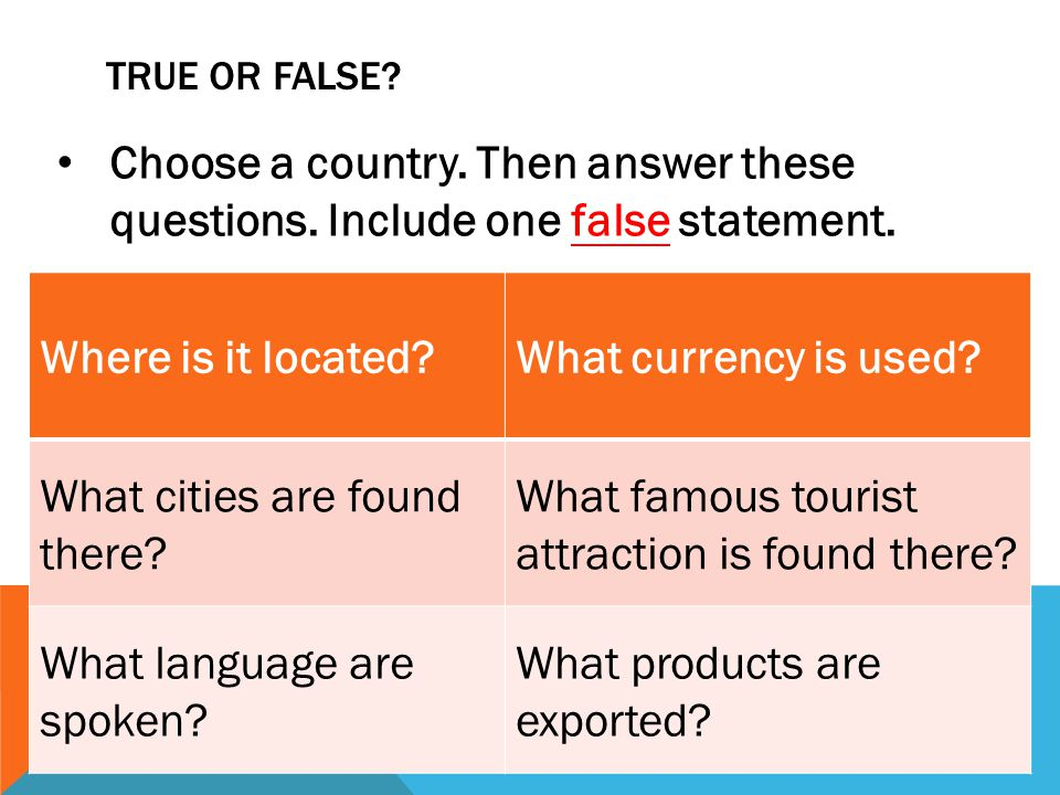 TRUE OR FALSE.Choose a country. Then answer these questions.
