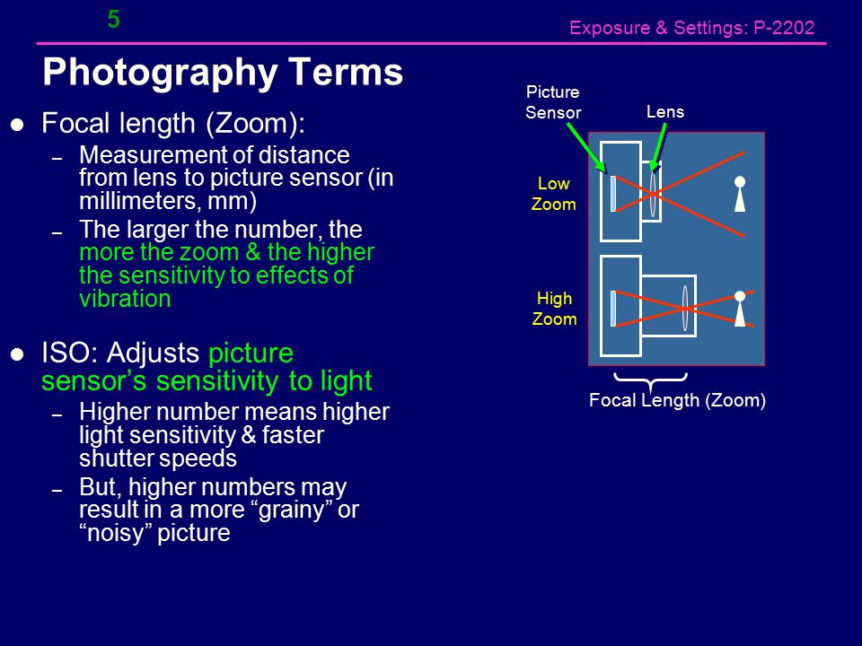 Exposure & Settings: P-2202 5 Photography Terms Focal length (Zoom): – Measurement of distance from lens to picture sensor (in millimeters, mm) – The larger the number, the more the zoom & the higher the sensitivity to effects of vibration ISO: Adjusts picture sensor's sensitivity to light – Higher number means higher light sensitivity & faster shutter speeds – But, higher numbers may result in a more grainy or noisy picture Focal Length (Zoom) Picture Sensor Lens Low Zoom High Zoom