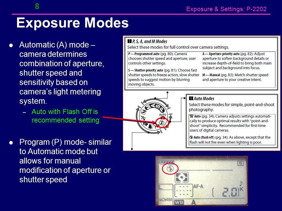 Exposure & Settings: P-2202 Exposure Modes Automatic (A) mode – camera determines combination of aperture, shutter speed and sensitivity based on camera's light metering system.