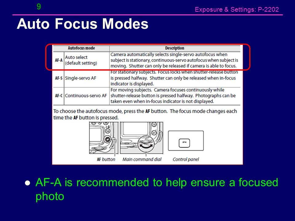 Exposure & Settings: P-2202 Auto Focus Modes AF-A is recommended to help ensure a focused photo 9