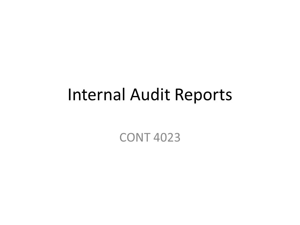 Internal Audit Reports CONT 4023