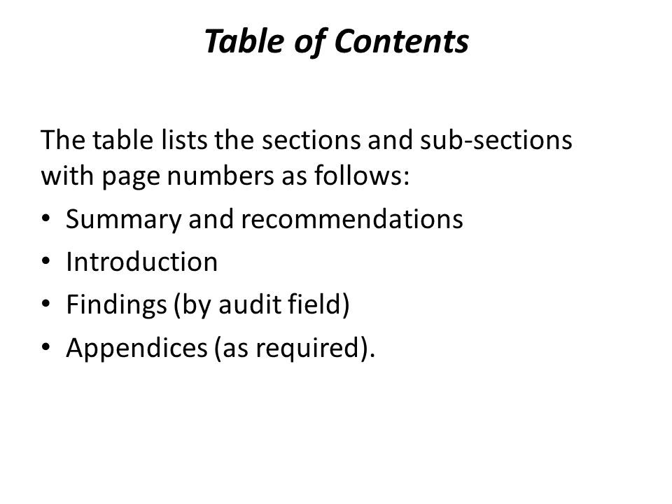 Table of Contents The table lists the sections and sub-sections with page numbers as follows: Summary and recommendations Introduction Findings (by au