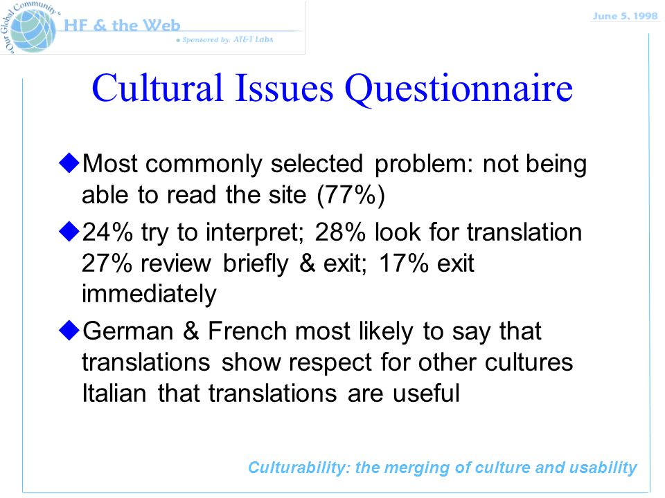 Culturability: the merging of culture and usability Cultural Issues Questionnaire uMost commonly selected problem: not being able to read the site (77%) u24% try to interpret; 28% look for translation 27% review briefly & exit; 17% exit immediately uGerman & French most likely to say that translations show respect for other cultures Italian that translations are useful