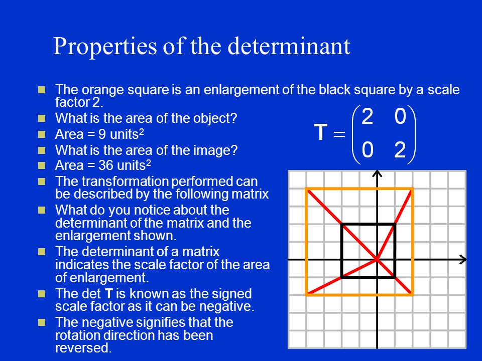 Properties of the determinant The orange square is an enlargement of the black square by a scale factor 2.