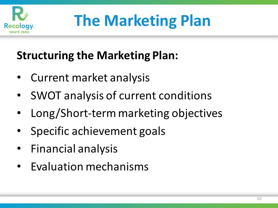 The Marketing Plan Structuring the Marketing Plan: Current market analysis SWOT analysis of current conditions Long/Short-term marketing objectives Specific achievement goals Financial analysis Evaluation mechanisms 10