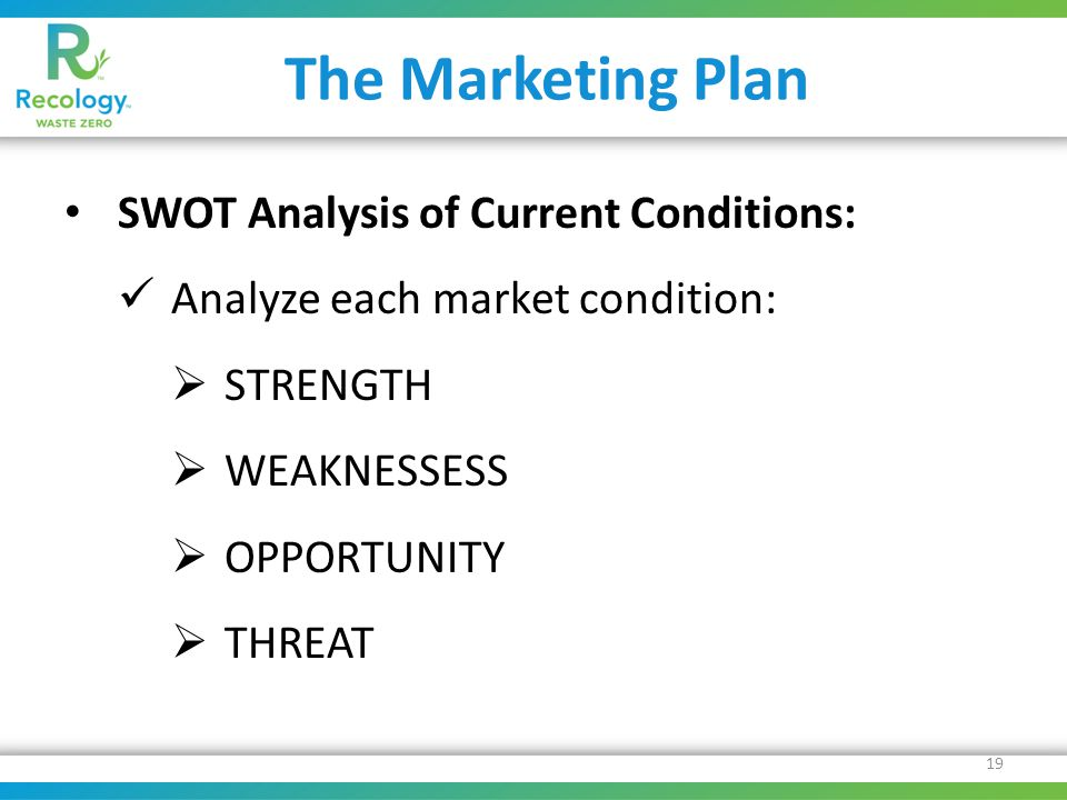 The Marketing Plan SWOT Analysis of Current Conditions: Analyze each market condition:  STRENGTH  WEAKNESSESS  OPPORTUNITY  THREAT 19