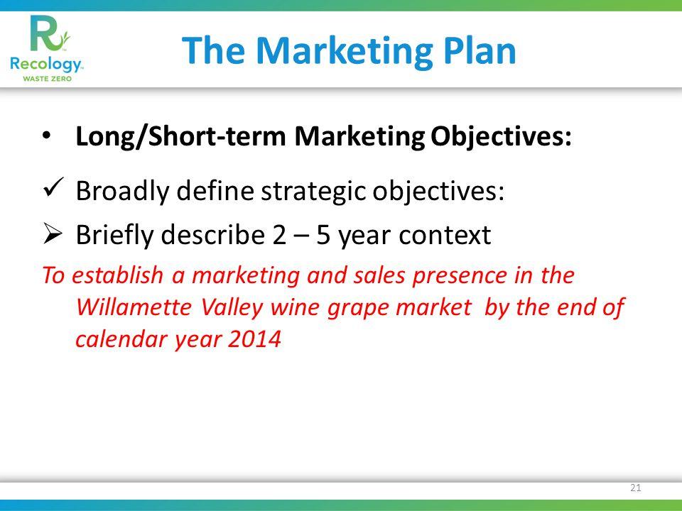 The Marketing Plan Long/Short-term Marketing Objectives: Broadly define strategic objectives:  Briefly describe 2 – 5 year context To establish a mar