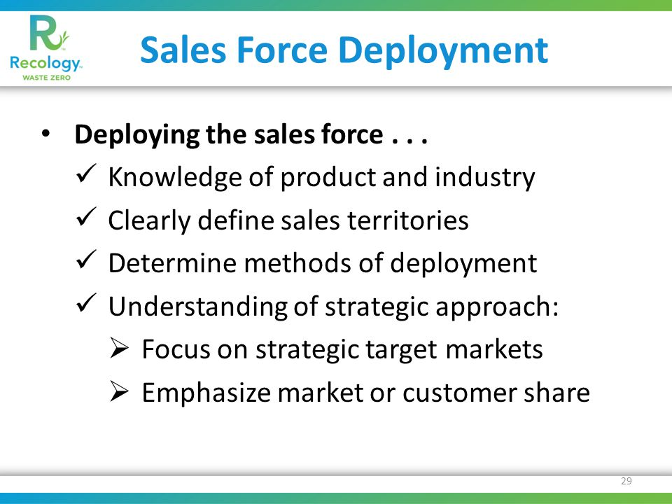 Sales Force Deployment Deploying the sales force...