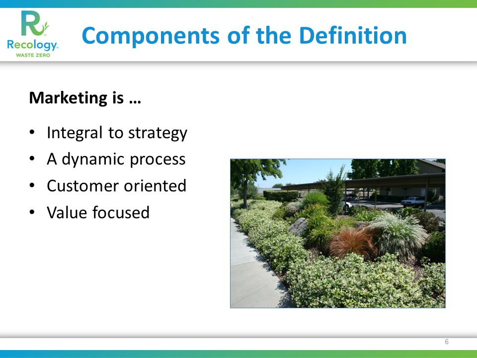 Components of the Definition Marketing is … Integral to strategy A dynamic process Customer oriented Value focused 6
