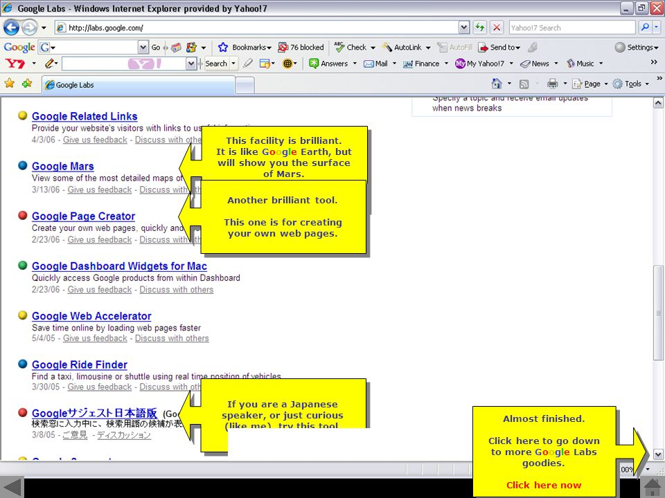 Click to progress Training tip Doh.Not now. Try it next time you are in Google Doh.